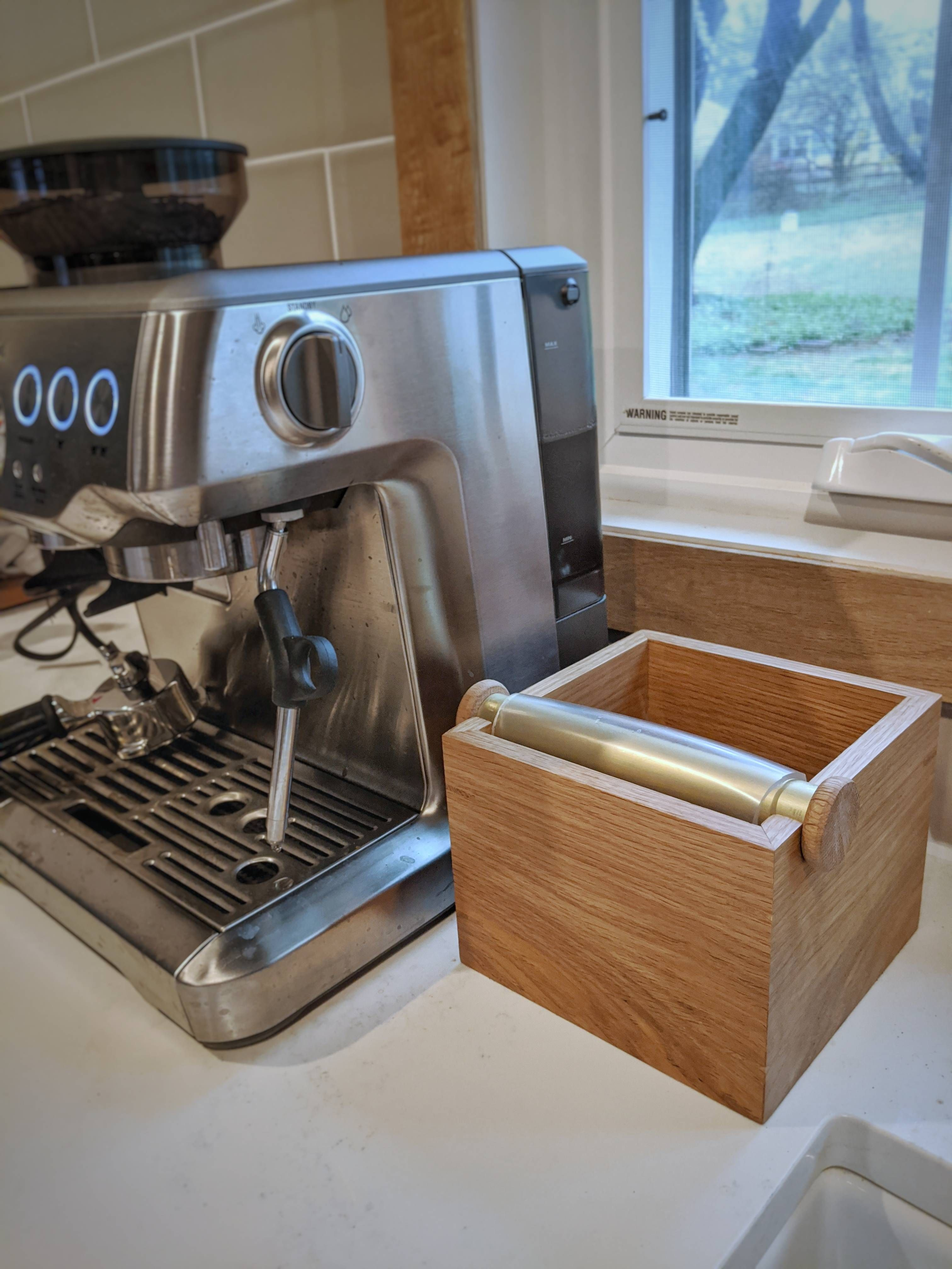 White oak and brass espresso knock box https//ift.tt