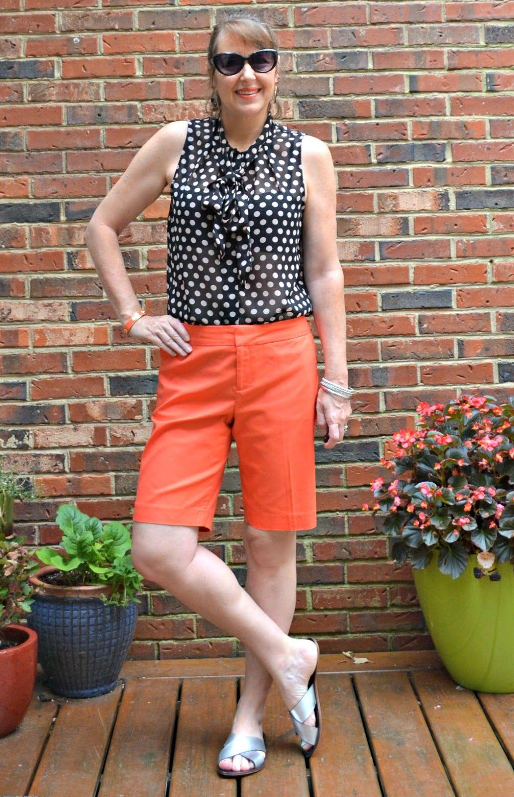 polka dots, knee length shorts, pussy bow blouse, silvergirl