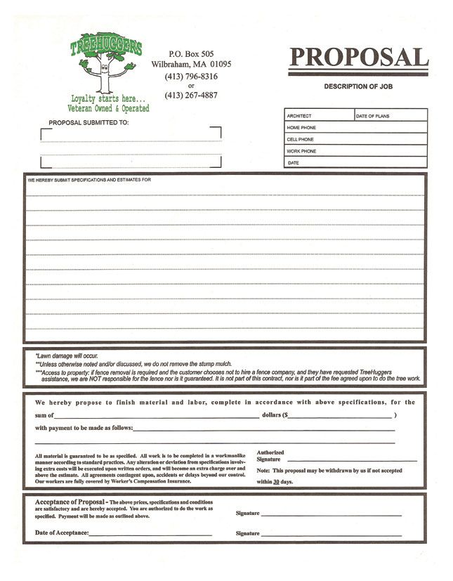 3 part proposal form for a tree removal company design for Tree removal quote template