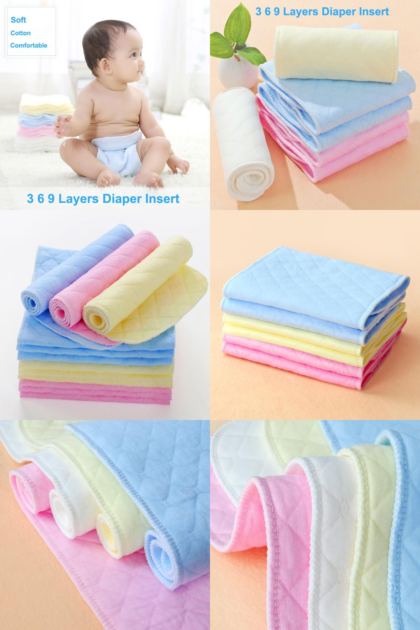 Baby Diaper Pad 5pcs Soft Breathable Baby Infant Toddler High Water Absorbing Washable Bamboo Nappy Liners Insert