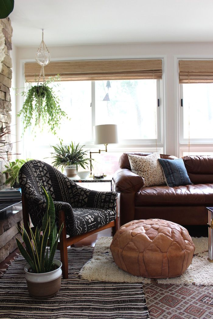 Modern Eclectic Boho Living Room With Leather Sofa Moroccan Pouf And Plants