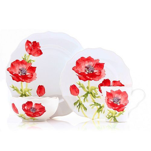 222 Fifth Anemone Red 16-pc. Dinnerware Set