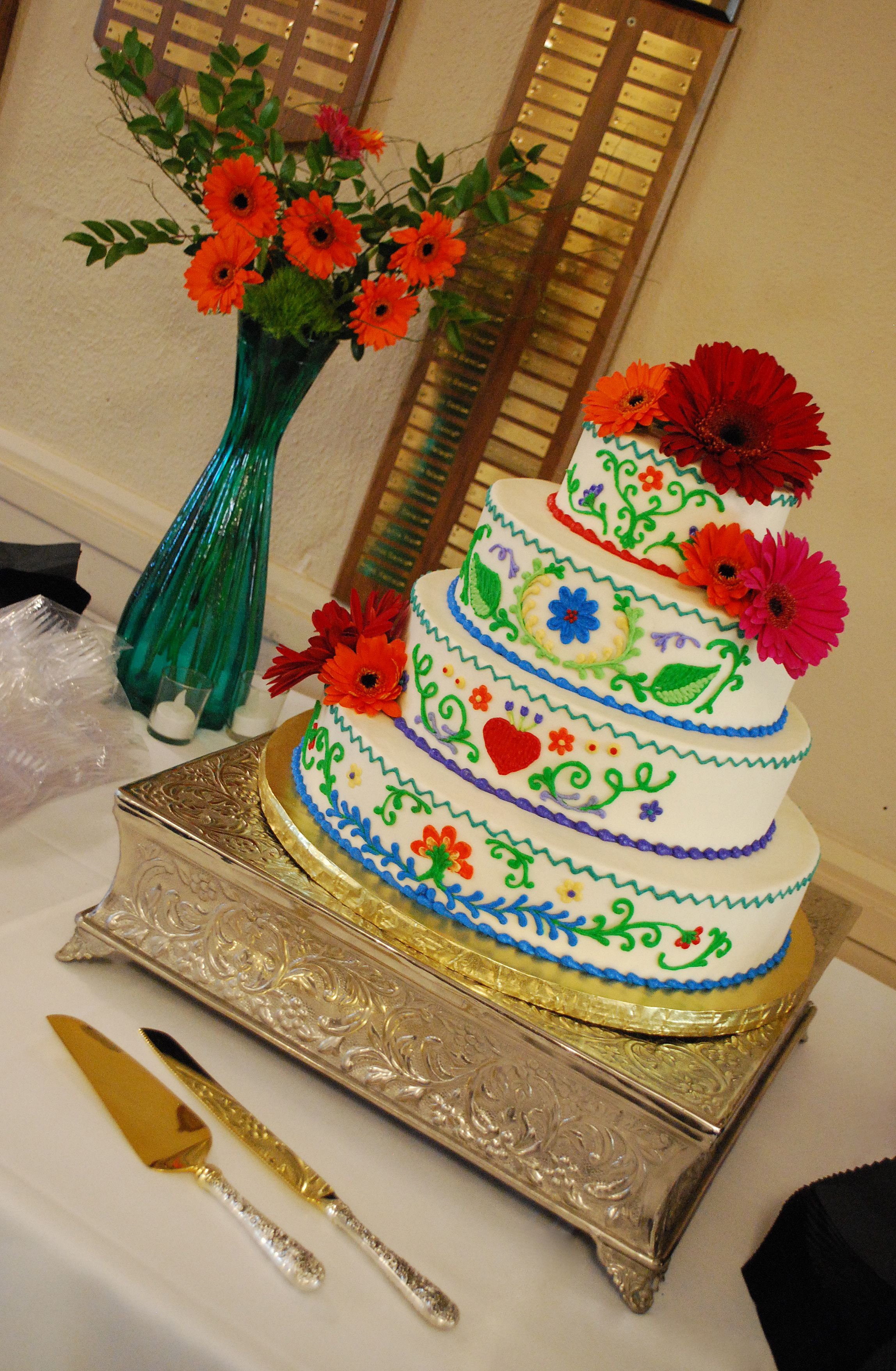 Mexican Embroidery Inspired Wedding Cake Bold vibrant