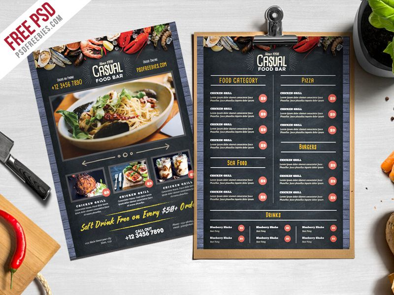 Chalkboard Style Food Menu Psd Template Banner Designs Menu
