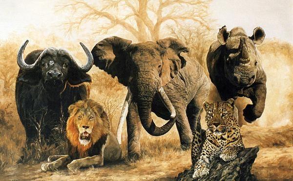 The big five customized animal full wall mural