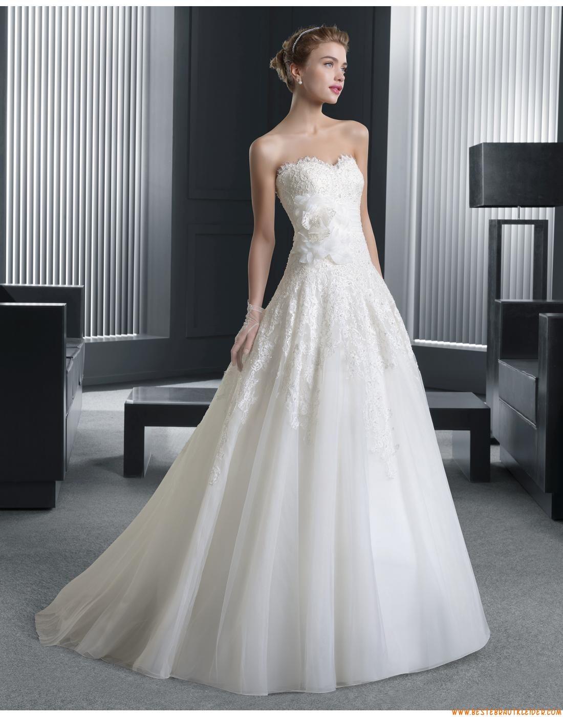 2015 A-linie Schicke Unique Brautkleider aus Organza mit Applikation ...