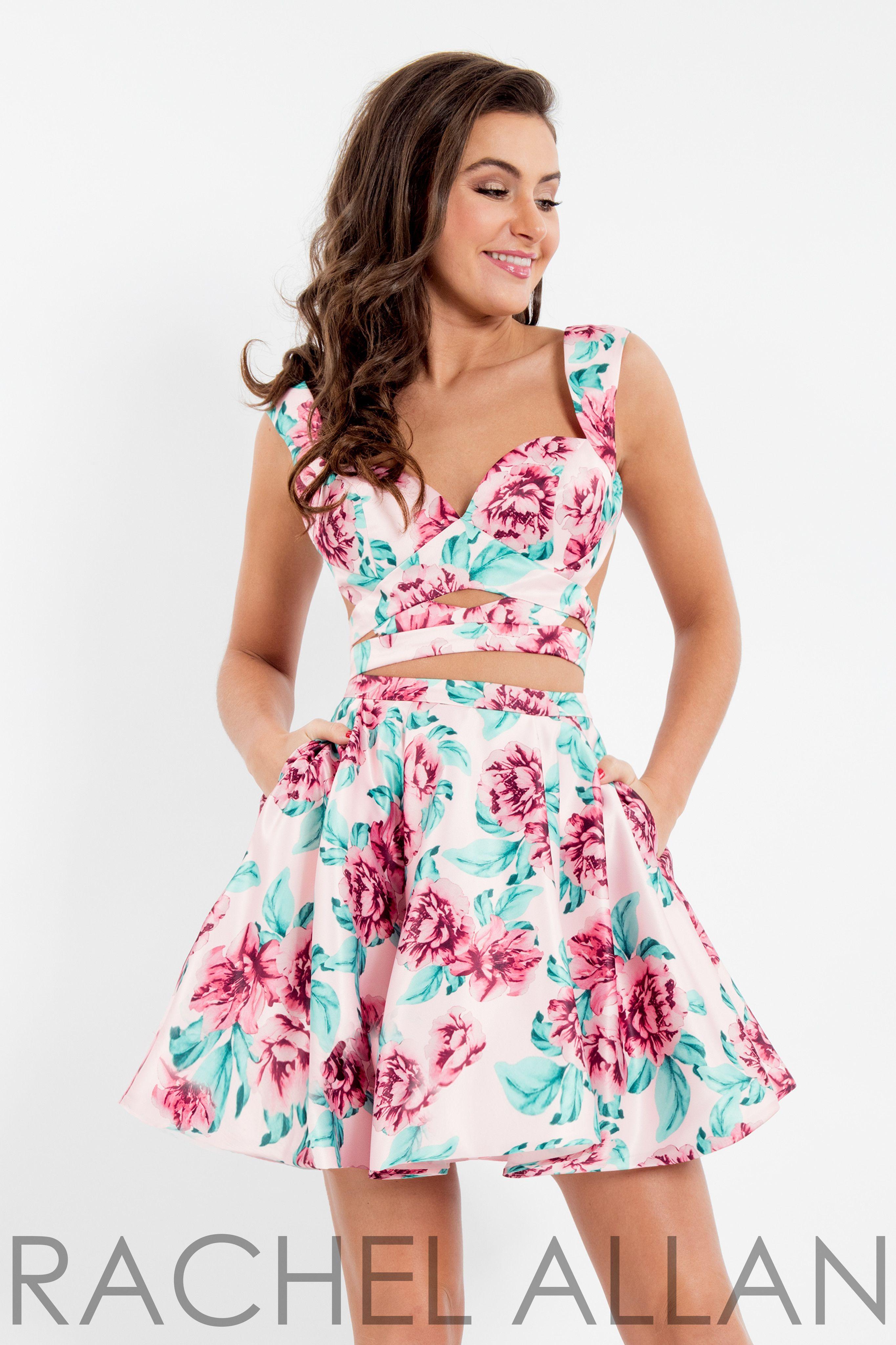 Rachel Allan 4491 Blush Print Sweetheart Two Piece Short Dress ... cee22aadb