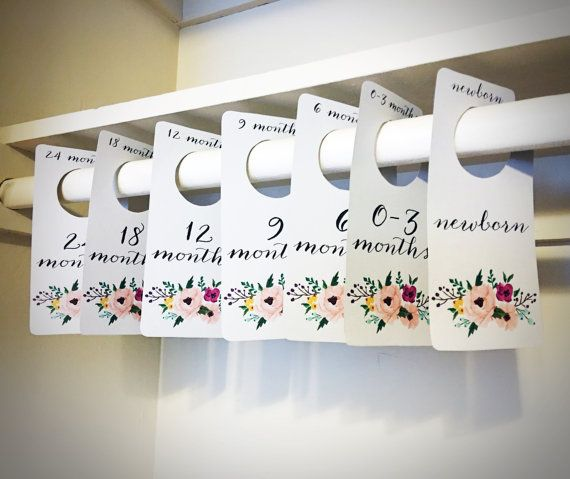 Floral Printable PDF Baby Nursery Closet Dividers and Organizers - print yourself - Baby Girl, Nursery Decor, Nursery Organization #nurseryideas