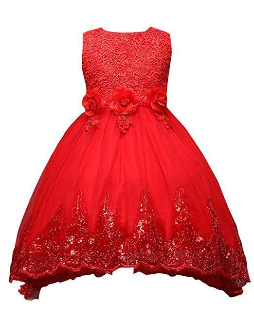 8e052c11638ae Moollyfox Enfant Fille Robe de Mariage Cérémonie Soirée sans Manches Robe  de Princesse en Fleurs Rouge 110CM