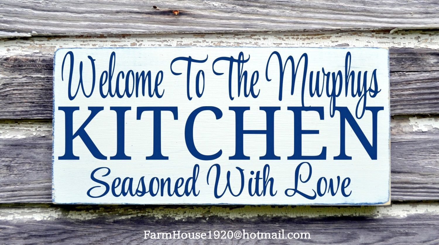 Personalized Kitchen Sign Rustic Kitchen Family Name Wall Art Dining ...