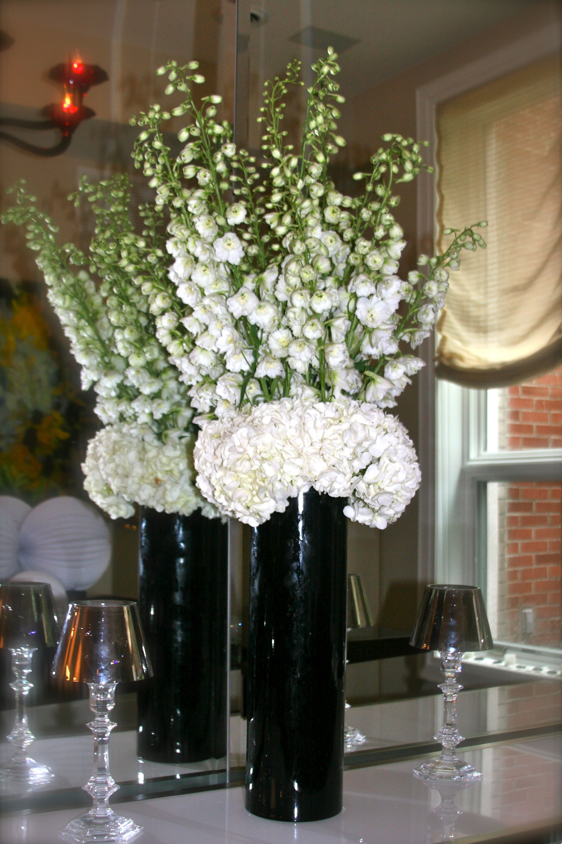 Dramatic Black & White floral arrangement created by Matles Florist