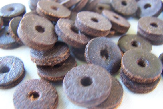 Vintage Coco Nut disk beads  Rustic by Frenchsteelbeadshop on Etsy