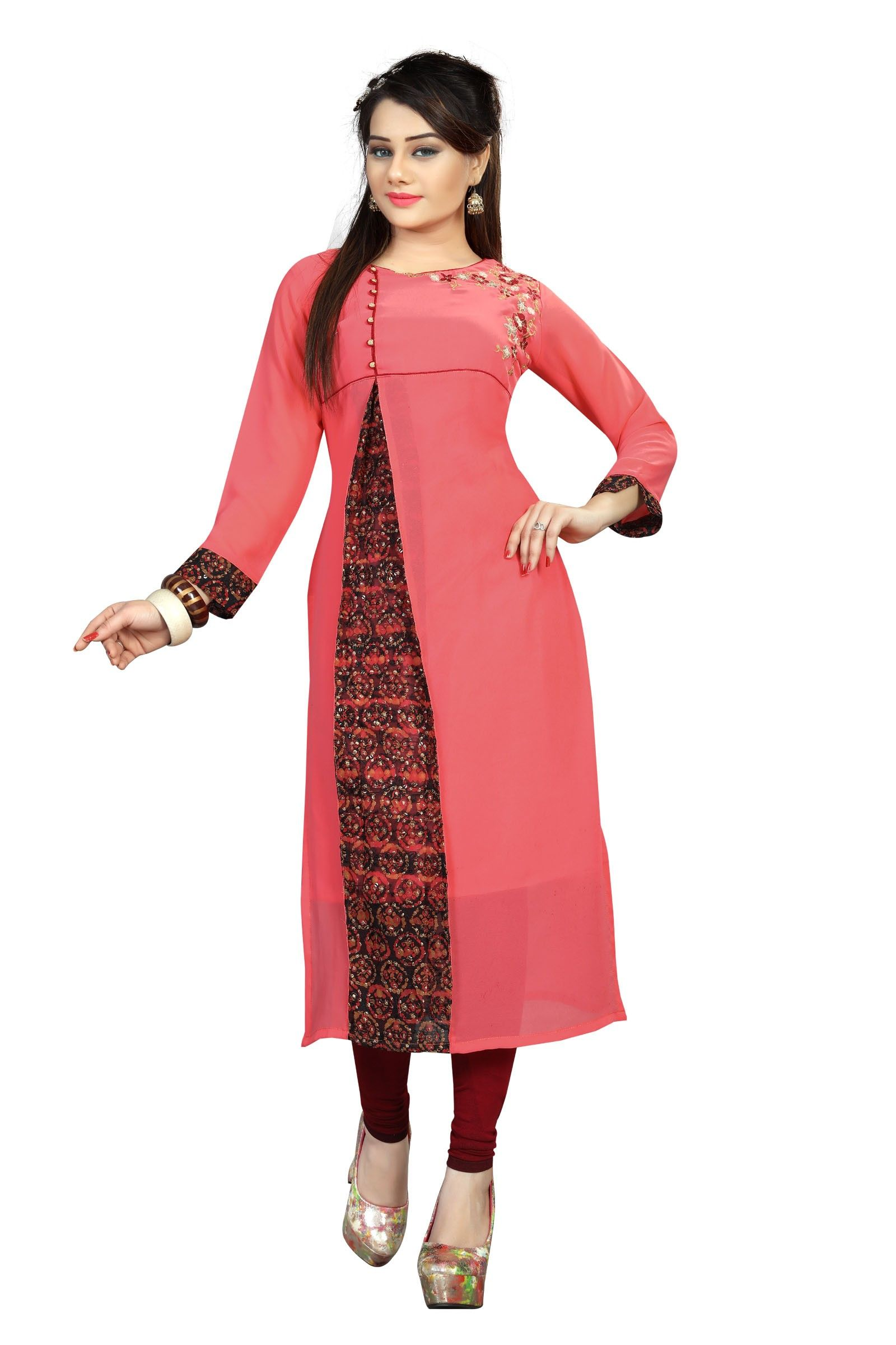 c0d4982b4 Buy Apparels- Light Pink Colour Georgette With Embroidery Work Kurti Party  Wear Kurtis