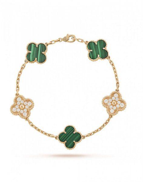 أسوارة فان كليف آند أربلز من الذهب والماس وحجر المالاكيت الأخضر Turquoise Bracelet Jewelry Bracelets
