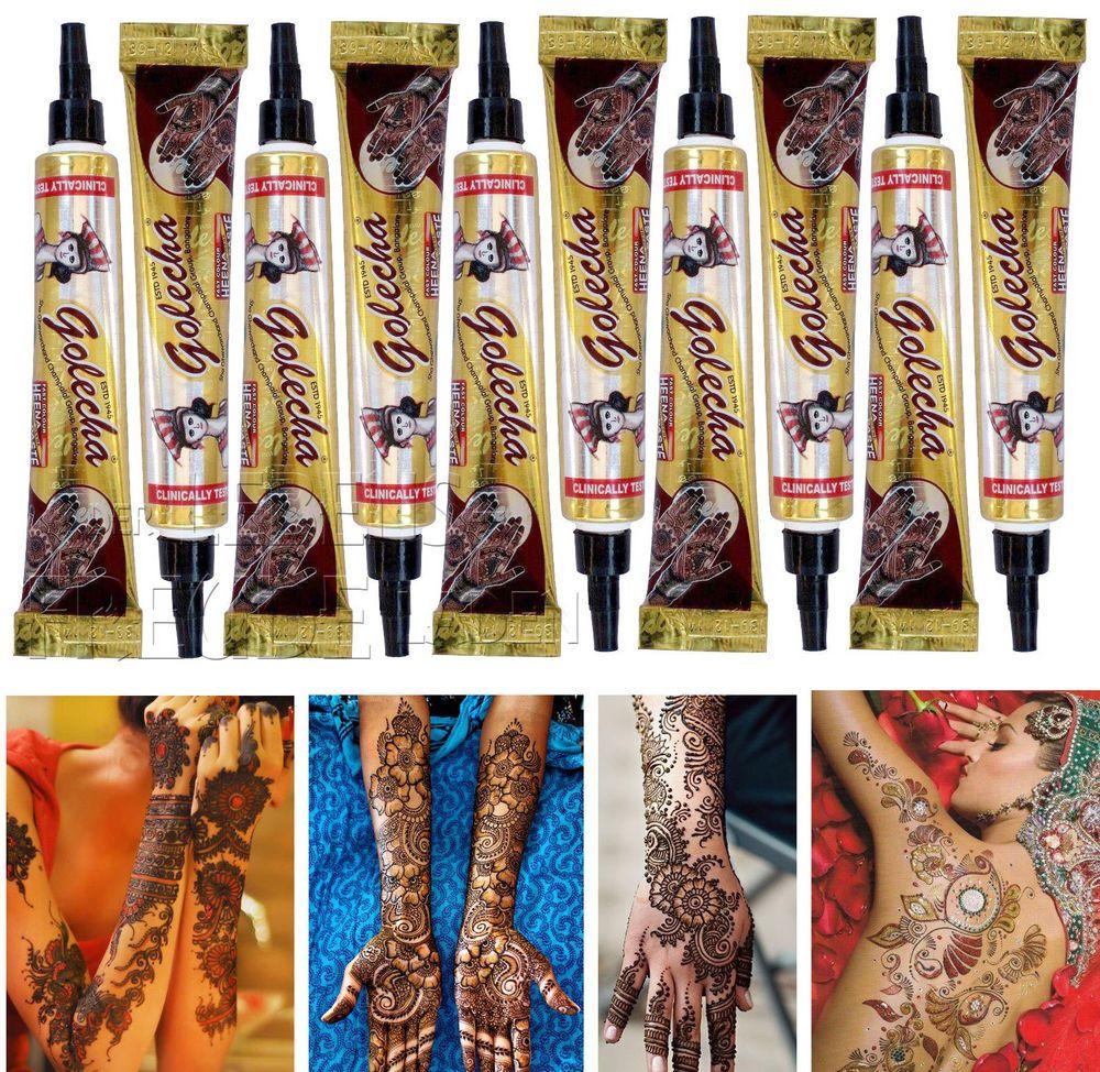 10x Golecha Hennapaste rot/maroon -Tuben á 25g - Mehndi Tatoo-Klinisch getestet! | eBay