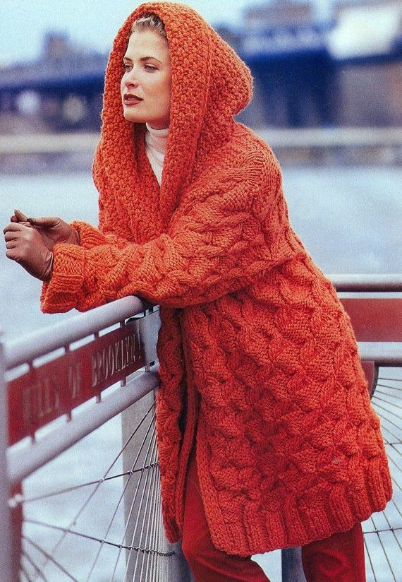Vintage Knitting Pattern Chunky Hooded Jacket Coat Cable