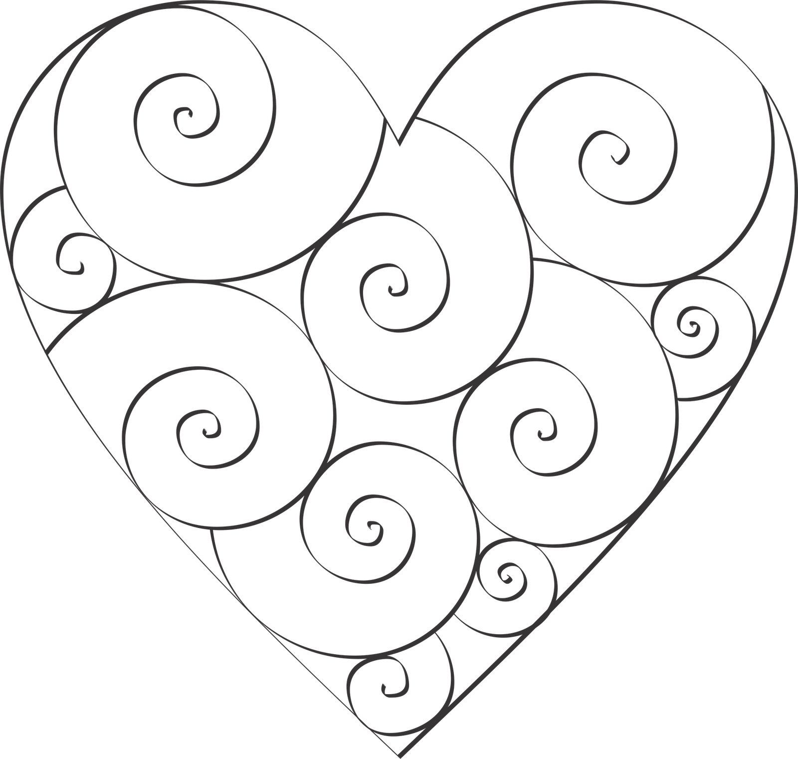 Swirl Hearts to Color Embroidery hearts, Mosaic patterns