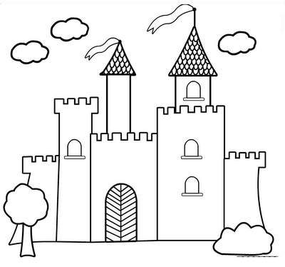 Castle coloring pages - for check in time? | Knights and castles ...