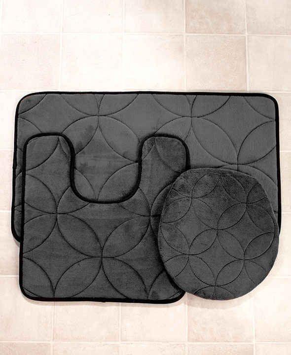 3 Pc Set Charcoal Memory Foam Bath Rugs Lid Cover Bathroom Home