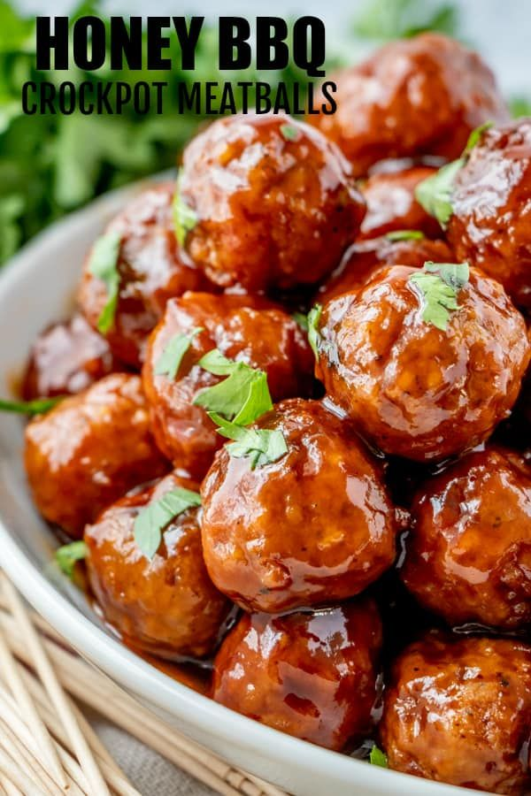 Honey BBQ Crockpot Meatballs #recipes
