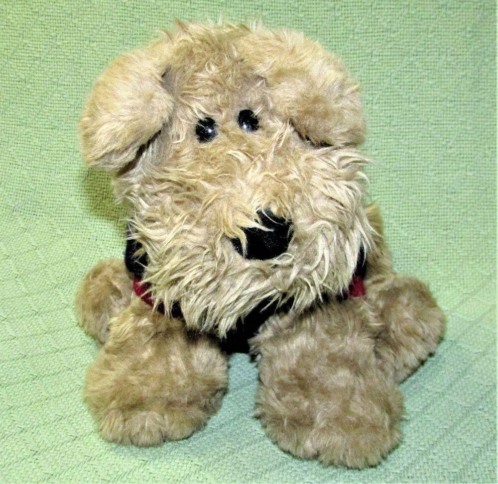 Vintage Commonwealth Schnauzer Dog Plush 12 Tan Puppy Blue