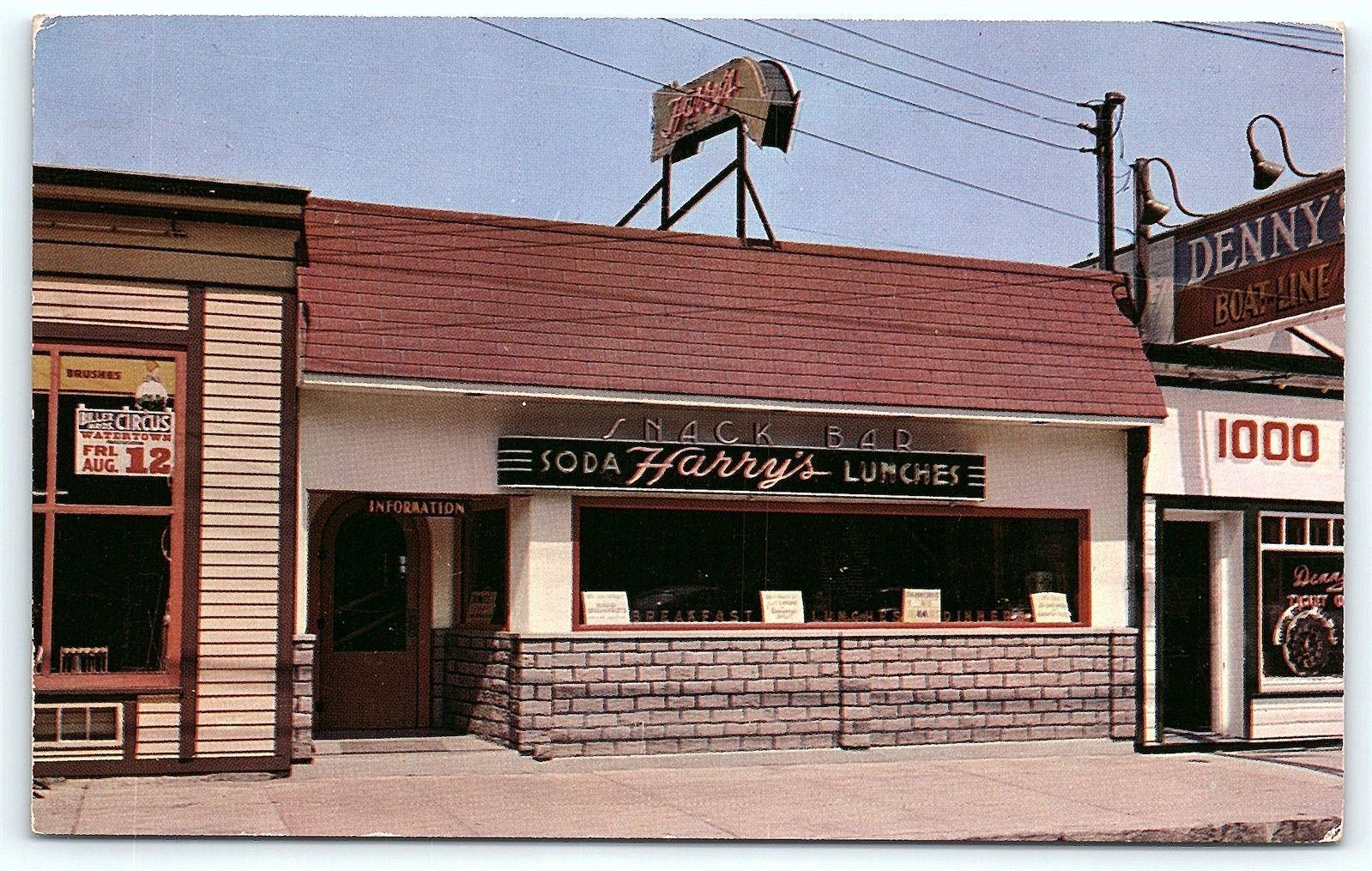 Postcard Ny Clayton 1000 Islands Harrys Snack Bar Restaurant R36 Ebay