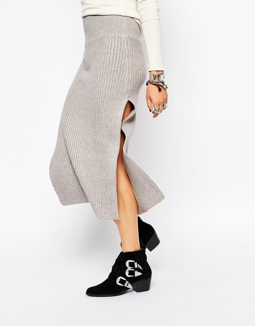 Image 4 ofFree People Felix Rib Maxi Skirt in Light Grey