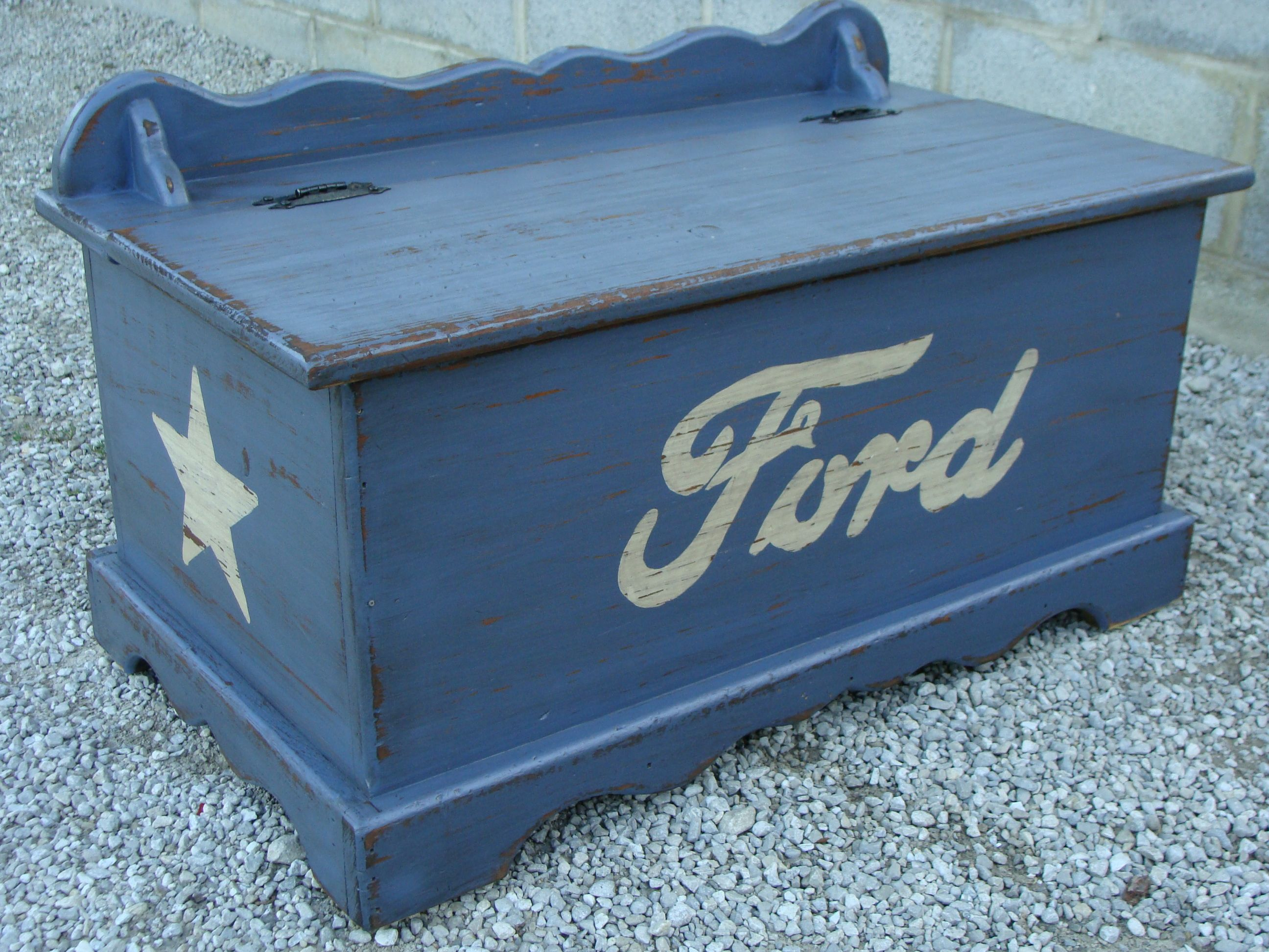 My Childhood Hope Chest Turned Into My Sons Toy Box He Loves Ford Mustangs So I Painted It Up And Distressed Boys Toy Box Boy Nursery Cars Baby Boy Bedroom