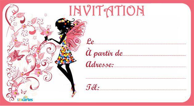 Moderne Invitation anniversaire Silhouette fée - 123 cartes | πεταλουδες XA-38