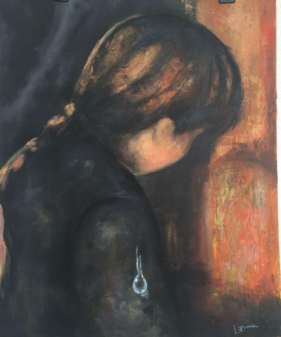 Lágrima : infância  Acrílica sobre base tela  40x50cm  Autor : Lorna  Série: Fragmentos  Valor : 280€