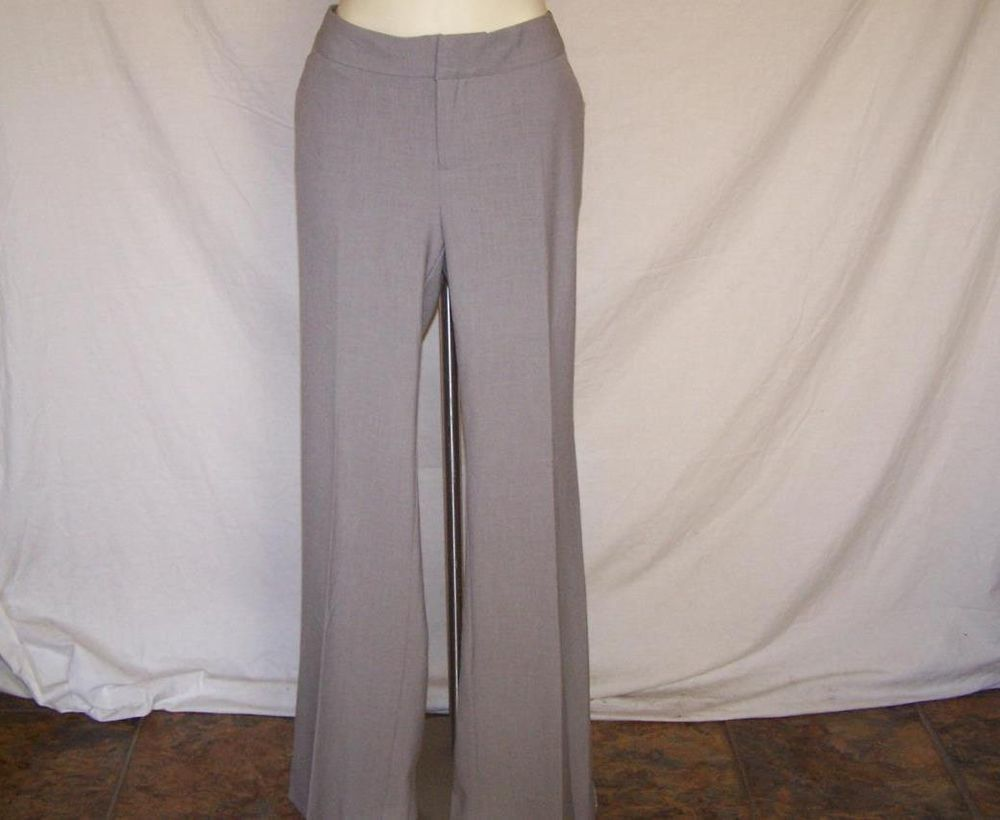 GAP Sz 10 Long Dress Pants Gray Aubrey Stretch Flat Front 34 x 34 Womens NWT #GAP #DressPants