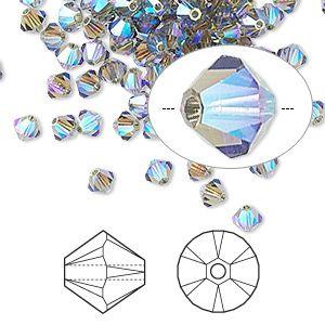 5328 Swarovski® Crystal Bicone Beads Black Diamond AB 2X