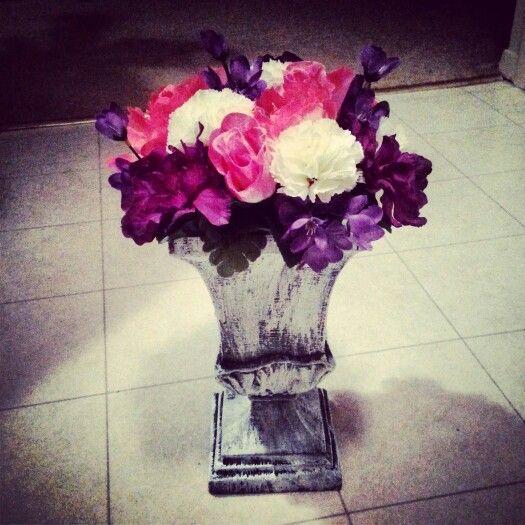 www.ivankaslittletreasures.com http://ivankas.wix.com/blackandwhitedesign #ivankaslittletreasures #handmade #home #decoration #flower #ancient #flowerpot #purple #white #pink