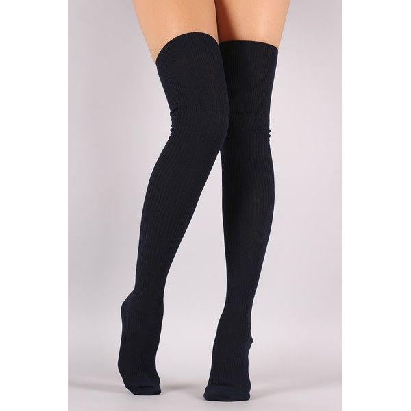 d577df524 Cozy Rib Knit Thigh High Socks ( 9.20) ❤ liked on Polyvore featuring  intimates