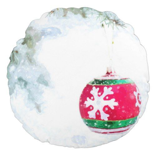 Christmas holiday white snow watercolor round pillow Popular - decorative christmas trees