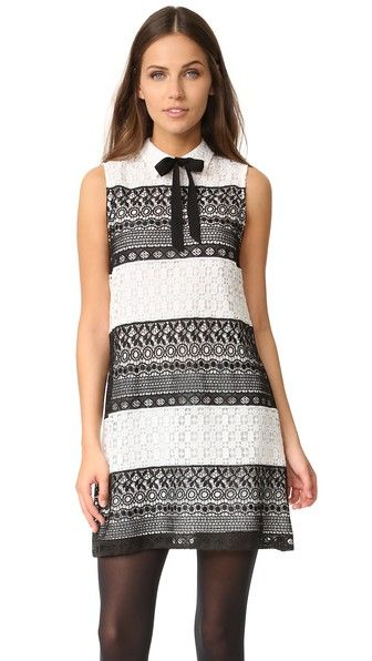 Alice And Olivia Hilly Collared Flare Dress With Bow