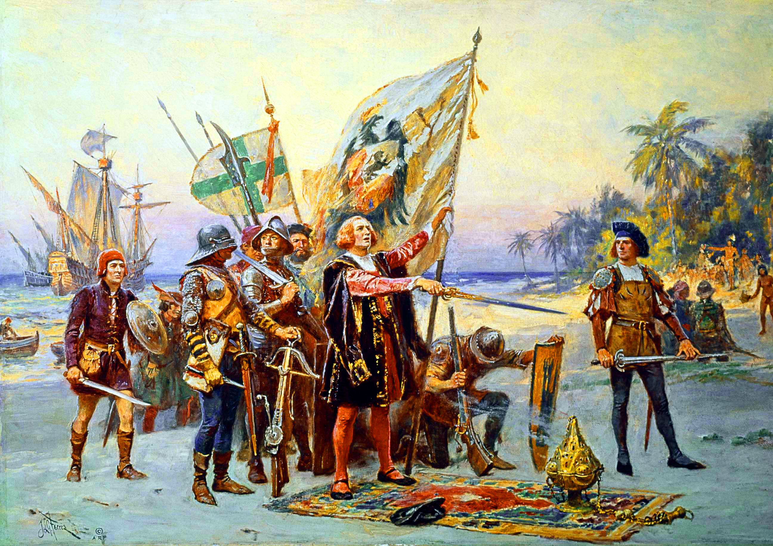 Christopher Columbus S First Landing In The Americas In