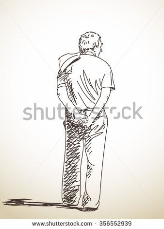 Sketch Of Old Man From Back Hand Drawn Illustration How To Draw Hands Hand Drawn Vector Illustrations Village Scene Drawing