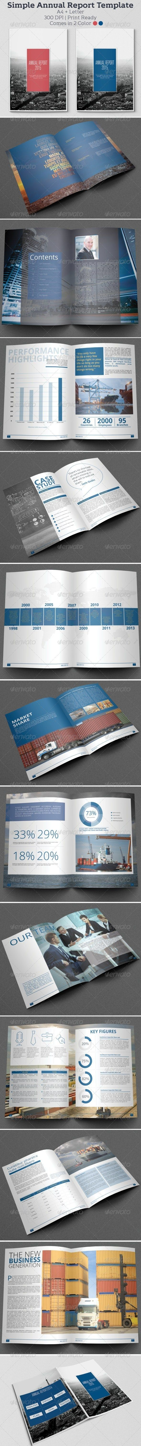 Simple Annual Report Template — InDesign INDD #swiss #simple ...