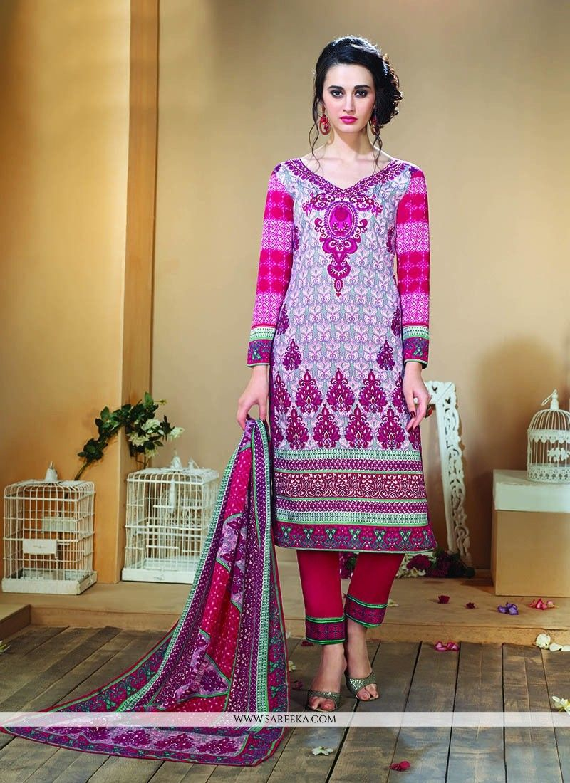 Multi colour print work designer straight salwar kameez color