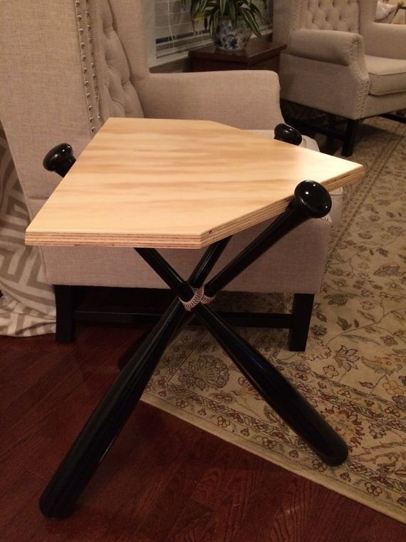 Baseball Bat End Table Real Wood By Krossbattables