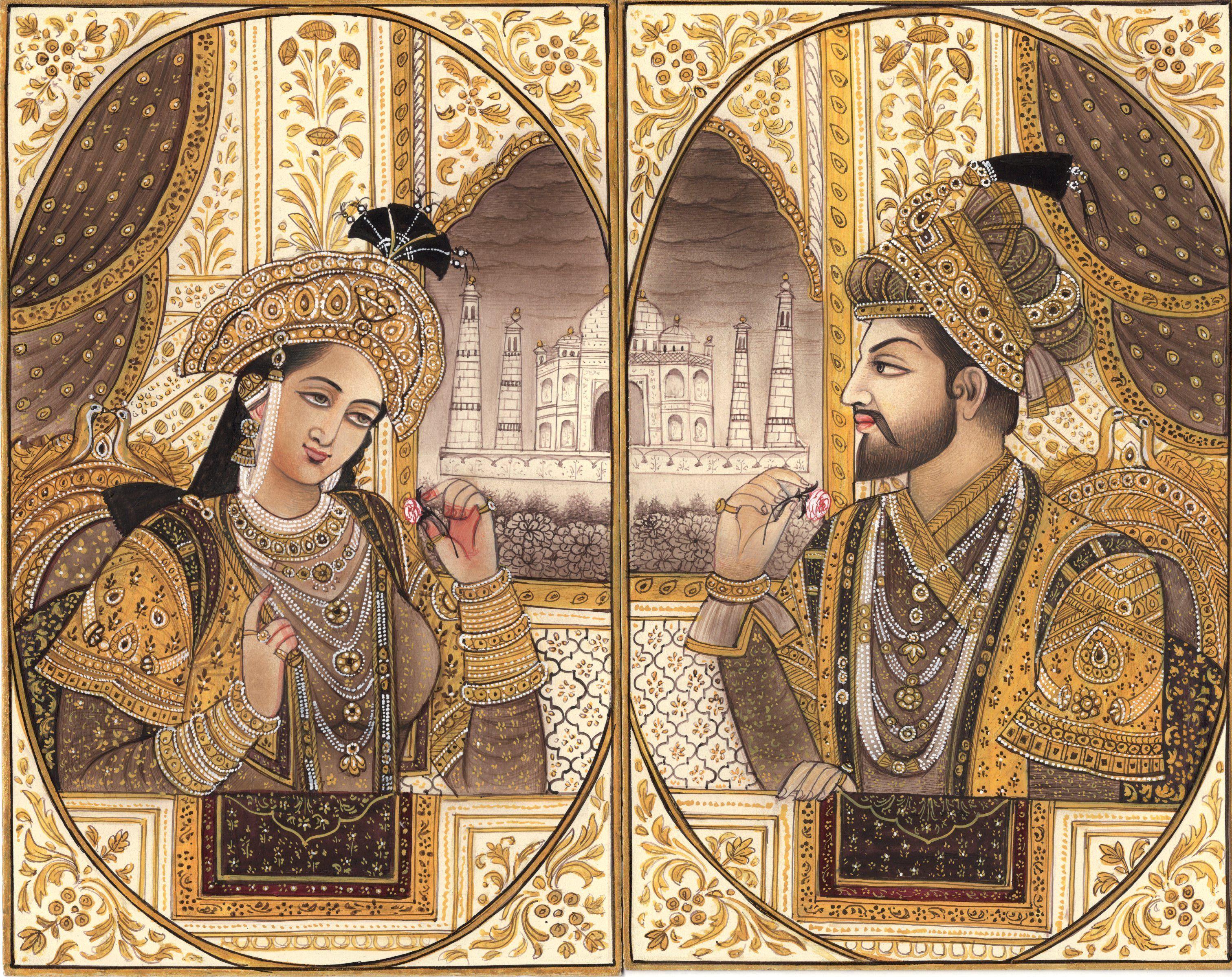 Emperor Shah Jahan Empress Mumtaz Mahal Art Mughal Empire Miniature ...