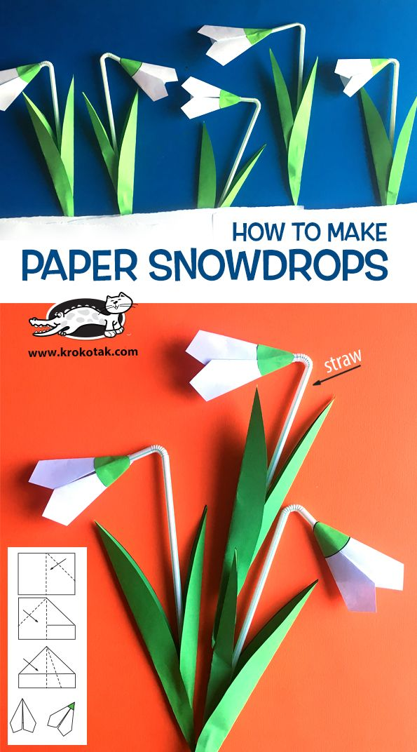 Snowdrops With Straw Spring Crafts For Kids Paper Flowers Flower Crafts