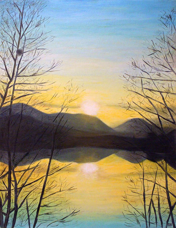 Sunset Mountain By Ronald Haber Mountain Paintings Painting Art