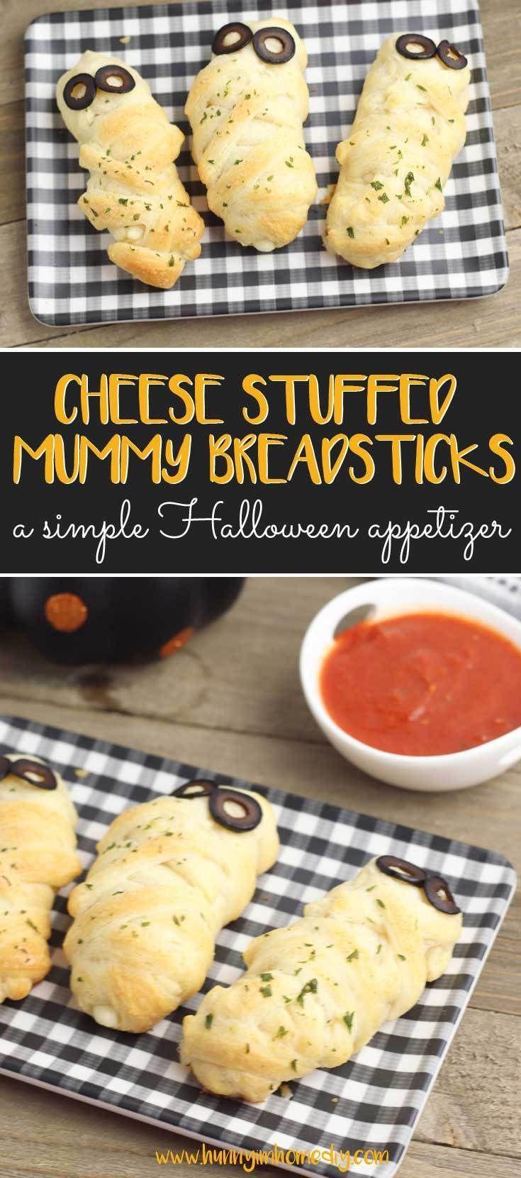 Stuffed Mummy Breadsticks Recipe Halloween appetizers
