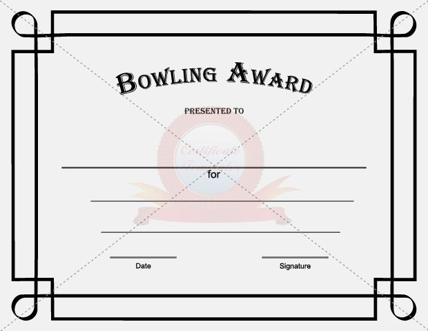 Bowling Award Template  Certificate Template