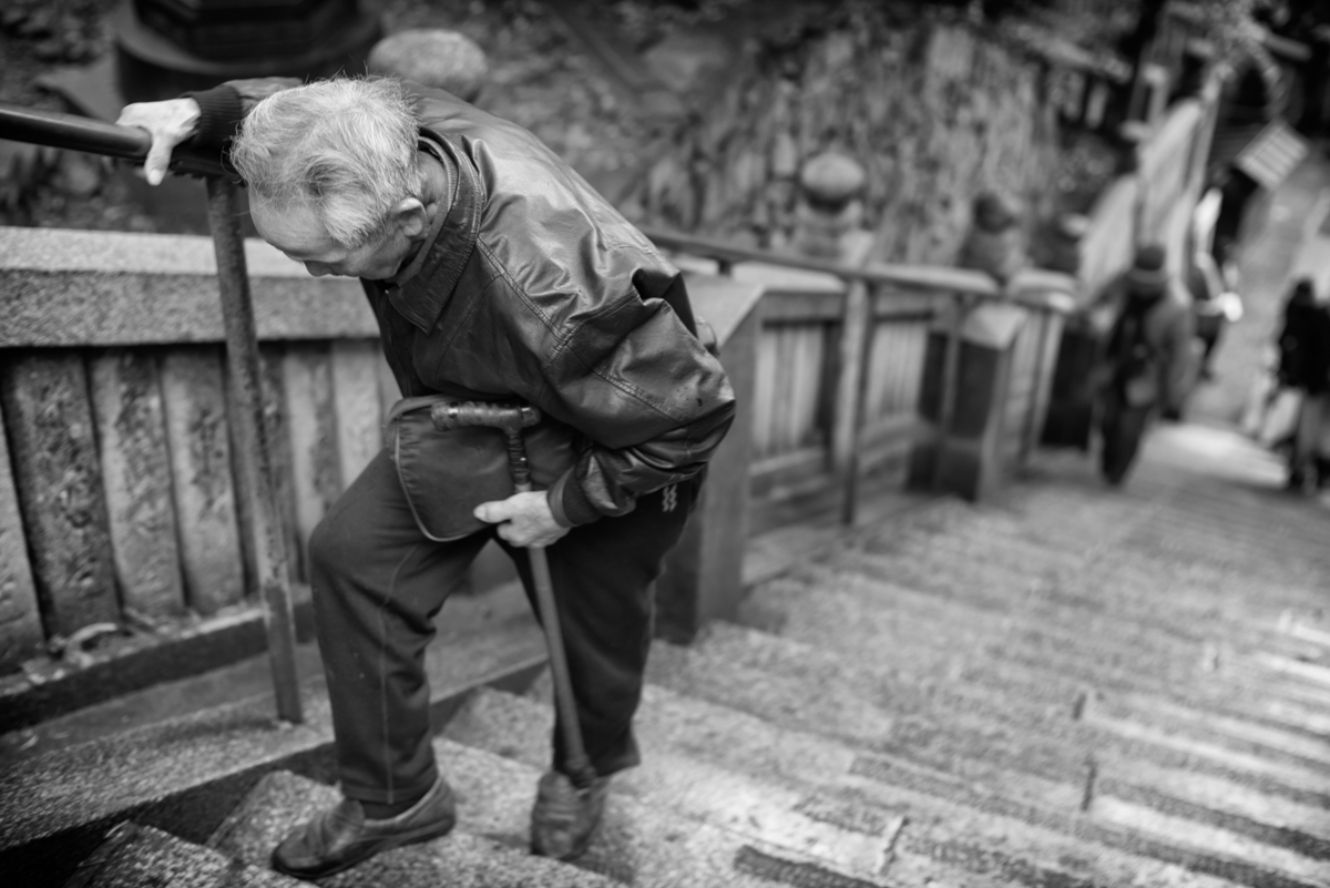 Old Man Climbing Stairs By Pete Rosos Photoreal Is The First Photo Marketplace For Everyone Put Your Photos Up For Sal Martial Arts Movies Old People Shinto