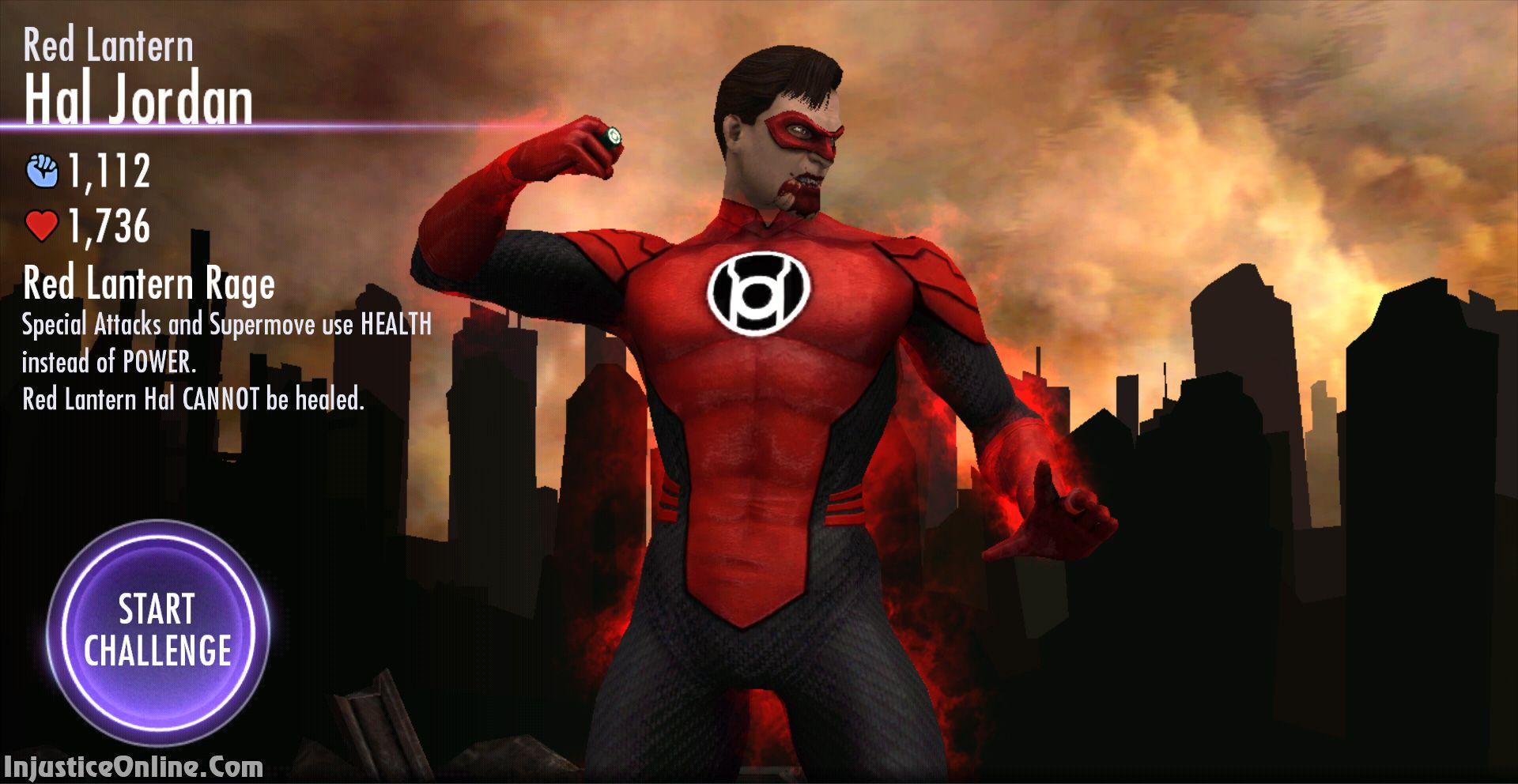 Injustice Gods Among Us Mobile Red Lantern Challenge Screenshot Red Lantern Green Lantern Hal Jordan Injustice