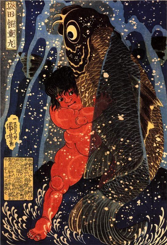 Sakata Kintoki struggling with a Huge Carp in a Waterfall, 1836 by Utagawa Kuniyoshi. S)
