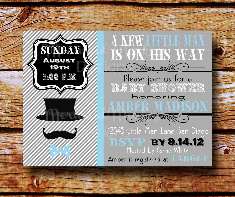 Little Man Invitation, Baby Shower Invite, Baby Boy Invitation   Mustache  Moustache Bowtie.